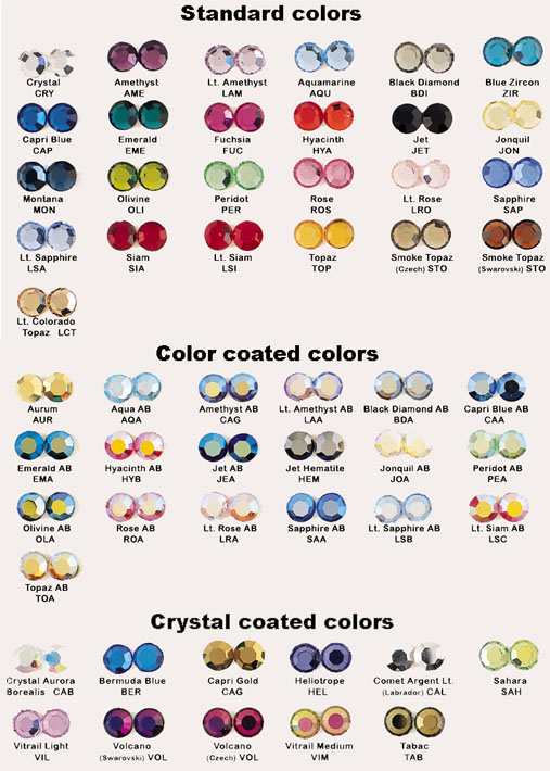 Chart of Rhinestone Colors