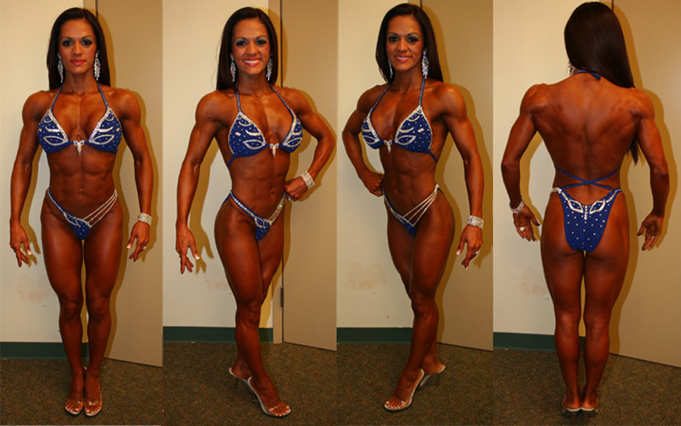 style 585 blue with rhinestones figure physique bikini competition suit