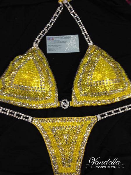 yellow bikini competition suit rhinestone connectors