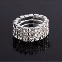 ab2c7cf8def Crystal 3-row rhinestone stretch Ring jewelry for bikini competition ...